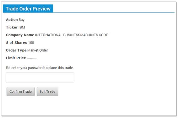 Help for the Enter A Trade Screen